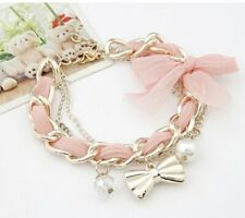 Vintage Gold Light Pink Bow Pearl Crystal Chain Jewellery Bracelet UK seller