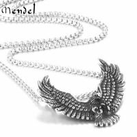 MENDEL Mens Boys Stainless Steel Biker Eagle Hawk Bird Pendant Necklace For Men