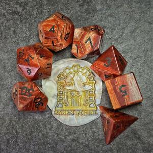 Sage's Treasures -Captured Canyon Rainbow Stone Gemstone Polyhedral Dice Set DnD