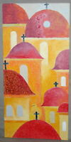 CUBISM CHURCH ARCHITECTURE OIL PAINTING SIGNED