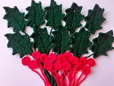 Christmas Holly Leaves & Berries.  Crochet Applique.  Set Of 25.  Decorations,