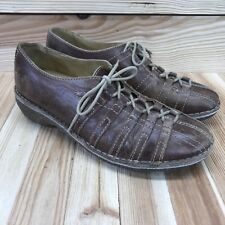 Groundhog Womens Shoes 8.5 9 Brown Leather Lace-Up Oxfords Casual Chunky Heel
