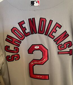 Red Schoendienst Signed Cardinals Authentic Majestic Grey Jersey HOF