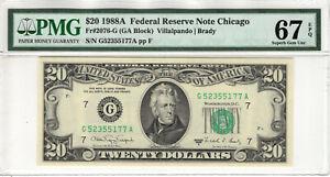 1988 A $20 FEDERAL RESERVE NOTE CHICAGO FR.2076-G PMG SUPERB GEM UNC 67 EPQ