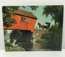 "Paul Detlefsen Vintage covered Bridge Print Litho 16"" X 20"" No.205  Boy Fishing"