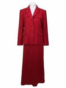 Talbots Petites Women's Size 4 Red Suit Jacket 2pc Blazer Maxi Skirt Linen Silk