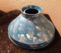 Vintage Metal Lamp Shade Tole Blue And White