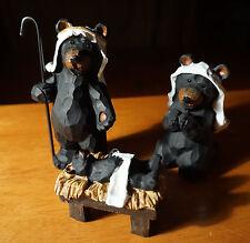 3 PIECE BEAR NATIVITY SCENE SET Faux Carved Cabin Wood Christmas Lodge Decor NEW