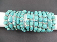 US SELLER -wholesale lot of 10 Turquoise Gemstone Beaded Stretchy Bracelet