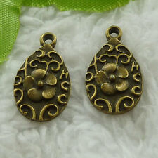 free ship 130 pcs bronze plated flower charms 21x12mm #3345
