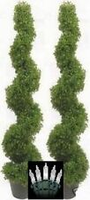 "2 TOPIARY ARTIFICIAL OUTDOOR BOXWOOD SPIRAL UV RATED TREE 5' 3"" CHRISTMAS LIGHTS"