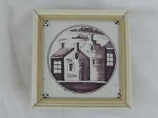 Old Tile Delft Tile Houses Manganese Painting - from Estate Motif 166