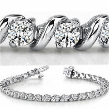 7.22 carat Round Diamond Tennis 18K Gold Bracelet, 24 x 0.30 ct E-F VS GIA cert