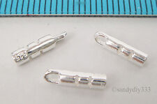 10x STERLING SILVER BRIGHT 1mm LEATHER CRIMP END CAP CONNECTOR BEAD #2183A