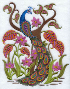 PEACOCK BRILLIANCE EMBROIDERED SET OF 2 BATHROOM TOWELS BY LAURA