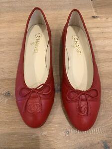 NEW CHANEL Lambskin Ballet Flats 39.5 JG26250 Red