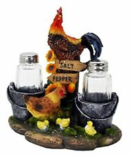 Farm Rooster and Chicken Salt and Pepper Shaker Set Country Kitchen Home Decor
