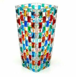 Signed/Certificate/Box Murano Multi Coloured Pezzato Mazzega Art Glass Vase