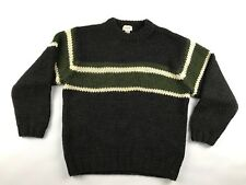 J.Crew Mens Sweater Large Dark Gray Striped Wool Crew Long Slv Hand Knit Chunky