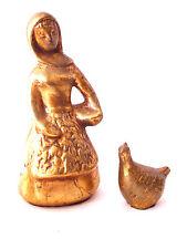 Howard Pierce Pottery Vintage Figurine Girl Chicken Super Rare Gold Leaf Ceramic
