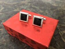 White Metal cufflinks W/black Insert, Mint