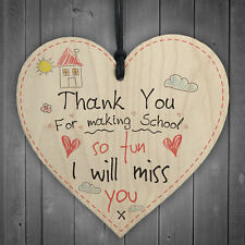 Teacher Leaving Nursery School Gift Wood Heart Sign End of Term Thank You Plaque