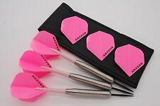 40g Tungsten darts set, Heavyweight darts, Pink amazon dart flights, stems, case