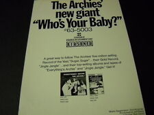 Archies new giant Who'S Your Baby 1970 Promo Poster Ad