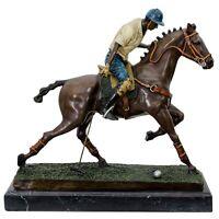 Bronzeskulptur Polospieler Polo Pferd im Antik-Stil Bronze Figur Statue - 33cm