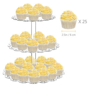 3 Tier Cupcake Stand Tray Cake Dessert Fruit Plate Wedding Party Display Tower #