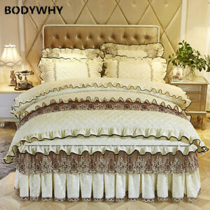 4 pcS set lace cotton embroidered luxury quilt cover bed skirt cover pillowcase