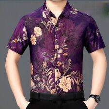 Men Floral Blouse Shirts Tops Retro Casual Formal Flower Short Sleeve Fit Summer