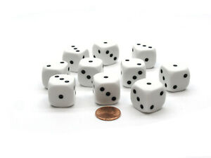 Pack of 10 20mm D6 Spot Dice Numbered 1 to 3 Twice - White with Black Pips