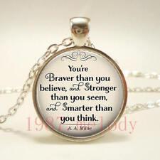 New charm Cabochon Glass Necklace Silver pendants(braver believe