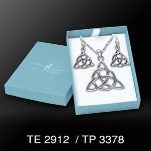 Celtic Knot Trinity Triquetra Sterling Silver Boxed Set Earrings Pendant