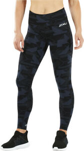 2XU Fitness Mid Rise Print Womens Long Compression Tights - Blue