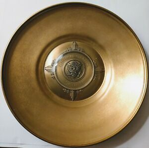 Vintage Mid-century Brass Dish with Glass Inlay, U.S. Senate Seal Engraved