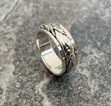 Solid 925 Sterling Silver Mens Spinner Ring Celtic 8mm Size T 1/2