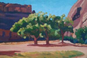 Stuart Burton Cottonwoods Canyon de Chelly 8x12 Contemporary Landscape Painting