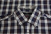 Paul & Shark Yachting Blue White Big Check Plaid Cotton Button Up Shirt Sz 40