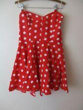Halloween Dress Mini Red Polka dot strapless fit flare dress Women's M/L
