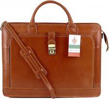 Made in Italy Mallette sac d'ordinateur portable sac professeur cuir Cognac