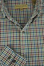 Triscots St Raphael Hombre Rojo Marrón & Azul Geométrico Camisa Algodón