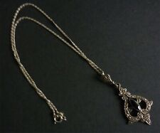 VINTAGE SILVER AND MARCASITE PENDANT BLACK STONE ON CHAIN