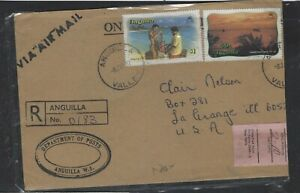 ANGUILLA COVER (P2304B)1982 40C+$1.00 REV ANGUILLA VALLEY TO USA