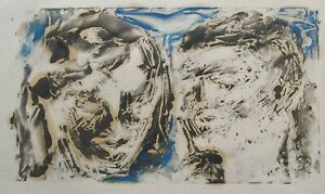 """JAMES CANT AUSTRALIAN MONOTYPE PRINT A """"STUDY OF """"TWO HEADS"""" C 1970"""