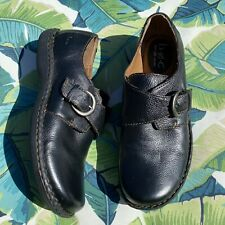 size 8 b.o.c. BORN Womans black leather Monk Strap buckle Oxford shoes