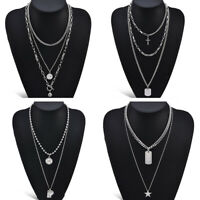 Women Silver Multi-layer Chain Pendant Choker Necklace Stainless Steel Jewelry