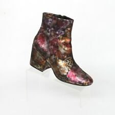 Kenneth Cole Reeve Black Pink Floral High Heel Ankle Boots Womens 11 M Casual