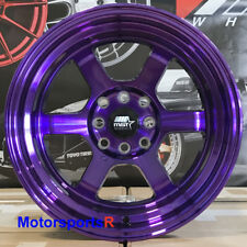 MST Wheels Time Attack Rims 15x8 +0 Purple 4x114.3 85 87 Toyota Corolla GTS AE86